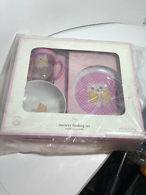 Pottery Barn Baby Nursery Feeding Set OWL Pink White Plate Bowl Cup, new, BPA FR