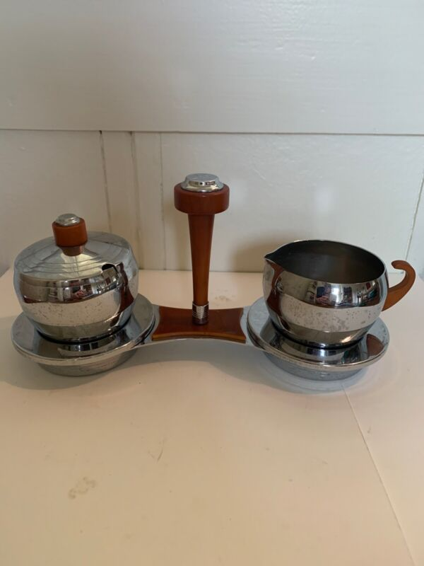 Art Deco Chrome And Bakelite Sugar and Creamer