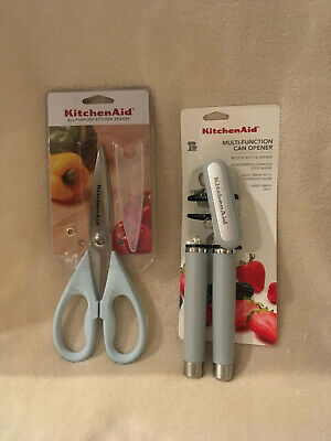 KITCHENAID Misty Blue Gourmet Can Opener w/ Bottle Opener & Kitchen Shears - New