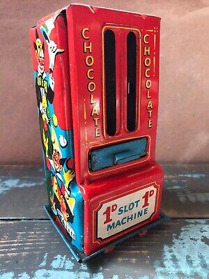 Vintage Tin 1d Chocolate Slot Machine Advertising Circus Toy Tin Vending Machine