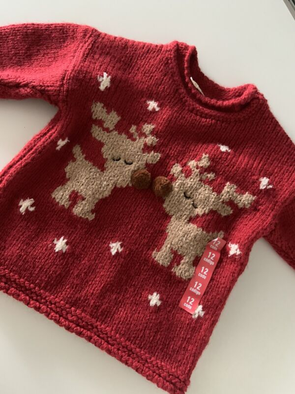 Zara Red Christmas Sweater Size 9 12 months New