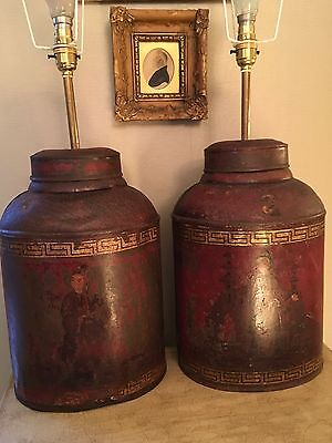Pair Of Large Antique Red Chinoiserie Painted Tole Tea Canister Table Lamps