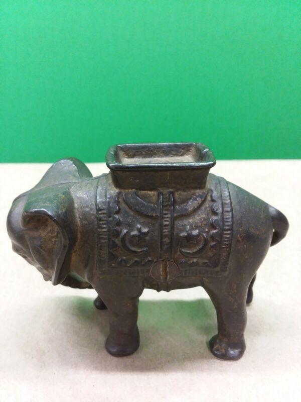 Antique Vintage Cast Iron Elephant Bank Trunk Down