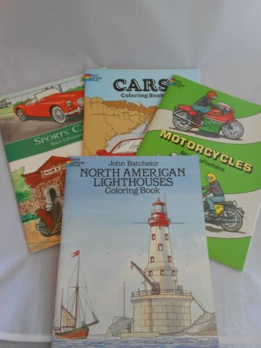 Lot Of 4 Vintage Dover Coloring Books, Sports Cars, Motorcycles, Lighthouses