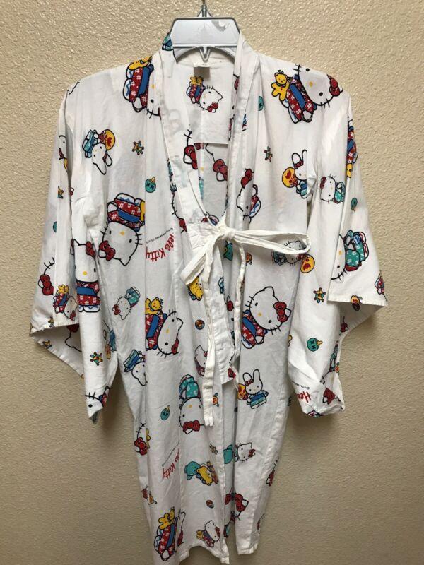 Vintage 1988 Sanrio Hello Kitty Kimono Novelty Print Robe Size 5-6
