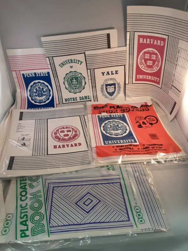 College Plastic Book Covers University Notre Dame Harvard Yale Penn State Vtg