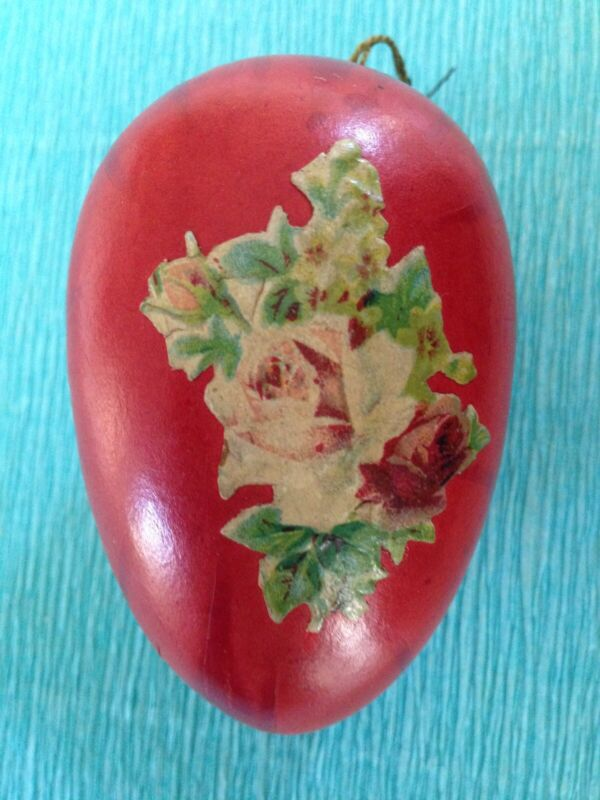 Antique Paper Easter Egg Candy Container With Victorian Scrap