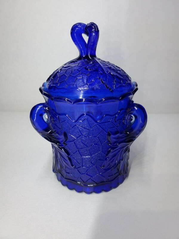 L.G. Wright Vintage Cobalt Blue Glass Sugar Bowl With Lid