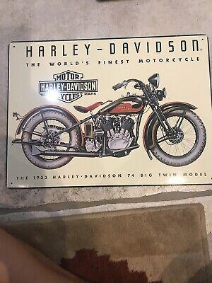 Genuine Harley Davidson Metal Garage Sign 1933 HD Big Twin Rooney Collection