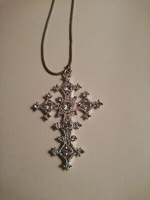 Costume jewellery large diamond effect Cross Necklace  for sale  Shipping to South Africa