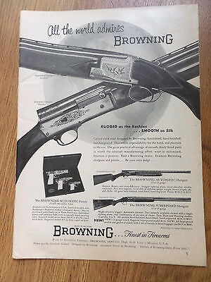 1954 Browning Shotguns Ad 12 16 Gauge & Automatic Pistols 9 mm 380 & 25 Caliber