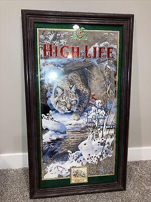 Miller High Life Bobcat Beer Mirror 1997 Wildlife Series Scott Zoellick Sign