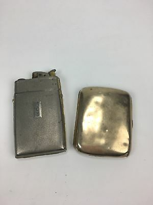 Pair of vintage silver plate cigarette cases - Evans with lighter
