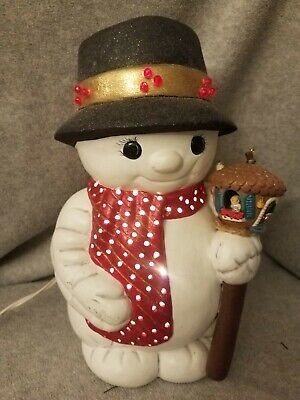 Vintage Ceramic Light Up Cute Snowman with Hat and Birdhouse