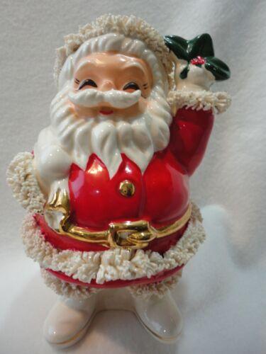 Vintage Ceramic SANTA SAVER BANK Spaghetti Christmas Gold Trim Japan