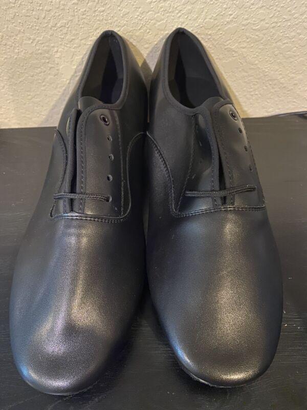 MEN Male Adult Soft Bottom Black LACE UP Latin Ballroom Dance SHOES Sz 11.5 New