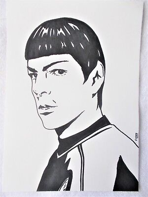 A4 Art Marker Pen Sketch Drawing Zachary Quinto as Spock from Star Trek Poster