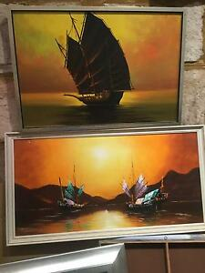 2 X RETRO 1970'S CHINESE PAINTINGS Kyle Bay Kogarah Area Preview