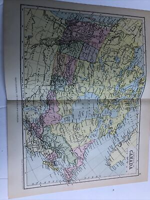 1899 : Map Of Dominion Of Canada 122 Yrs Old Original Print Johnston Antique