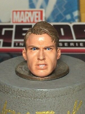 MARVEL LEGENDS PAINTED/FITTED R.S H.T CAP. STEVE ROGERS 1:12 HEAD CAST FOR 6 IN (Steve Head)