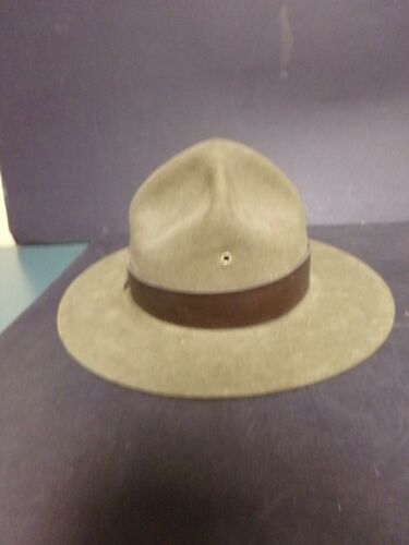 Vintage Original Boy Scouts Scoutmaster Hat. Olive Green. Size: 7 1/8. Good cond