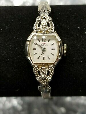 Waltham 25 Jewels 10K RGP White Gold Women's Wind up Art Deco JB Band Watch