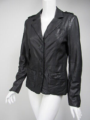 SUPERDRY Black Distressed Leather Embroidered Detail Jacket sz M