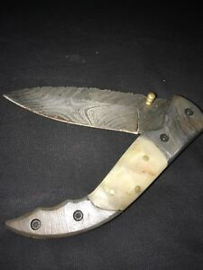 Hand made damascus steel folding knife