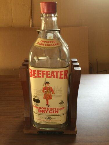 Vintage 1 Gallon Beefeater Dry Gin Bottle on Wooden Stand Made For Tilt and Pour