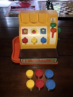Vintage 1974 Fisher Price Toy Cash Register Complete w/ Coins & Works