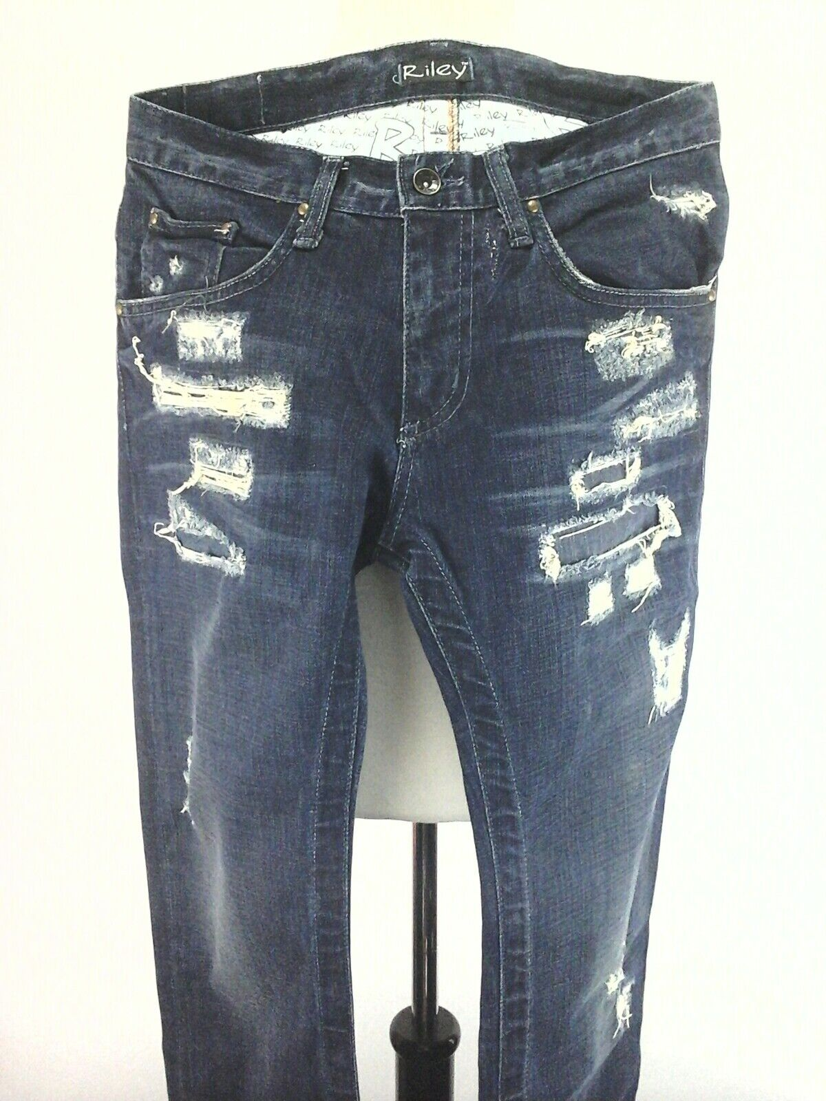 565b9a227b64 Riley destroyed distressed ripped womens boot cut jeans pants sz 28 ...