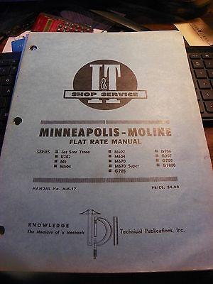 Vintage It Minneapolis Moline Farm Tractor Flat Rate Manual Mm-17