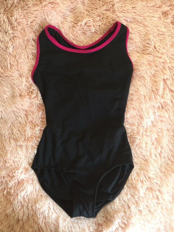 """Mariia Girls """"Stella"""" Tank Leotard (Black x Pink), Size-LC"""