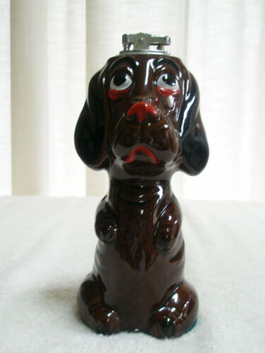 Vintage Figural Cigarette Lighter CeramicSad Dog Made in Japan