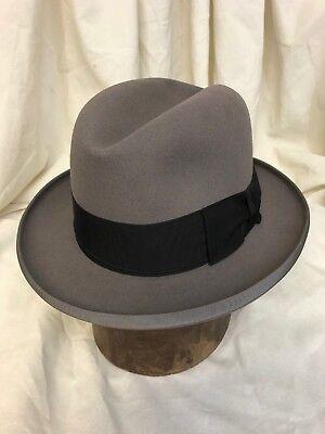 Lee Fifth Avenue Water-Bloc Silver Label Gray Fur Felt Homburg Hat - Size 7 1/2