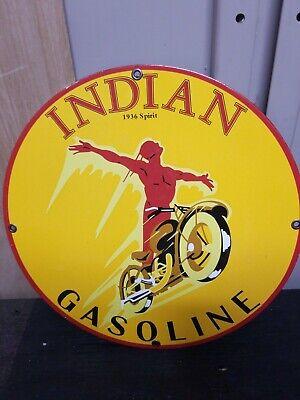 Vintage 1936 Spirit Red Indian Motorcycle Gasoline Porcelain Display Sign RARE!!