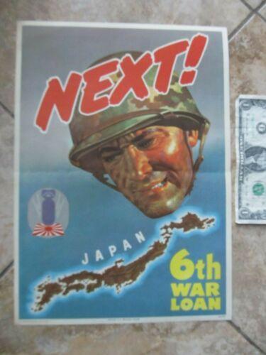 Rare BOLD COLORFUL PATRIOTIC 1944 WWII MARINE POSTER, USMC Japan Pacific Theatre