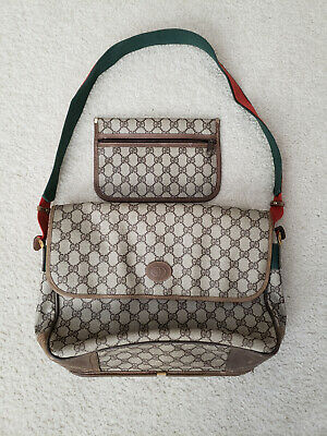 Vtg GUCCI GG Monogram PVC Vinyl Messenger Commuter Bag & Removable Pouch UNISEX