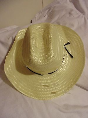Unisex straw cowboy girl hat off white childs size- about 18