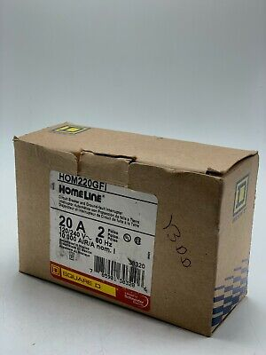 New Square D Hom220gfi Homeline 20 Amp 2pole Circuit Breaker
