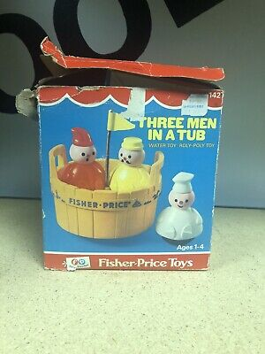 Vintage 1973 FISHER PRICE '3 MEN IN A TUB' #142 COMPLETE with BOX