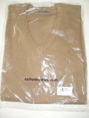 "MENS COTTON SWEATER JUMPER NEW! Medium-Toffee-V Neck ""Cotton Traders"""