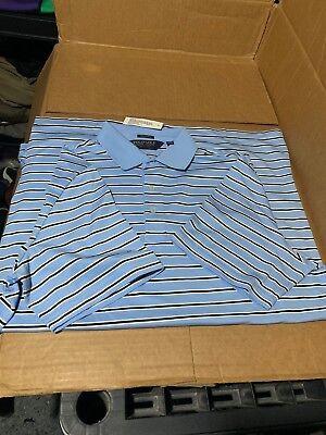 $89.50! NWT Polo Golf Ralph Lauren Blue Black White Striped Short Sleeve Shirt M