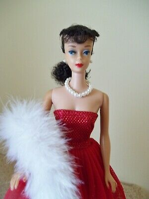 Vintage Barbie Ponytail #5 Brunette Black Hair With Outfit As Shown!