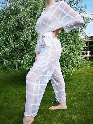 Vintage 80's Sheer Jumpsuit White Fine Net & Ribbon