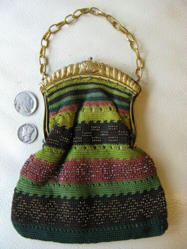Antique Gold Frame Green Handmade Crochet Silver French Steel Micro Bead Purse