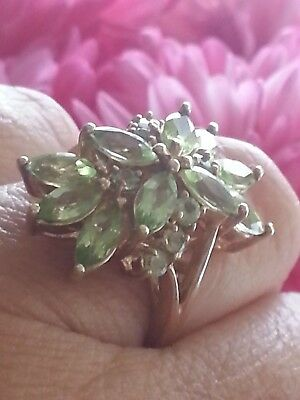 """QVC"" 9CT Marquise Cut  Peridot Cluster Ladies Ring Size L"