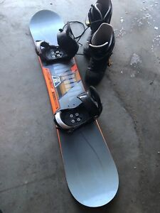 Snow board with boots and bindings