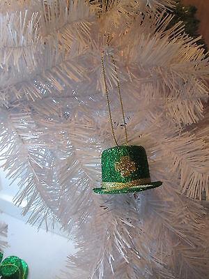 6 Pcs.  Dk. Green Glitter Hat St. Patrick's Day Irish Ornaments, New