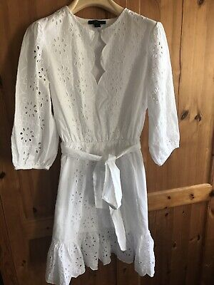 J. Crew White Embroidered Dress Size XS
